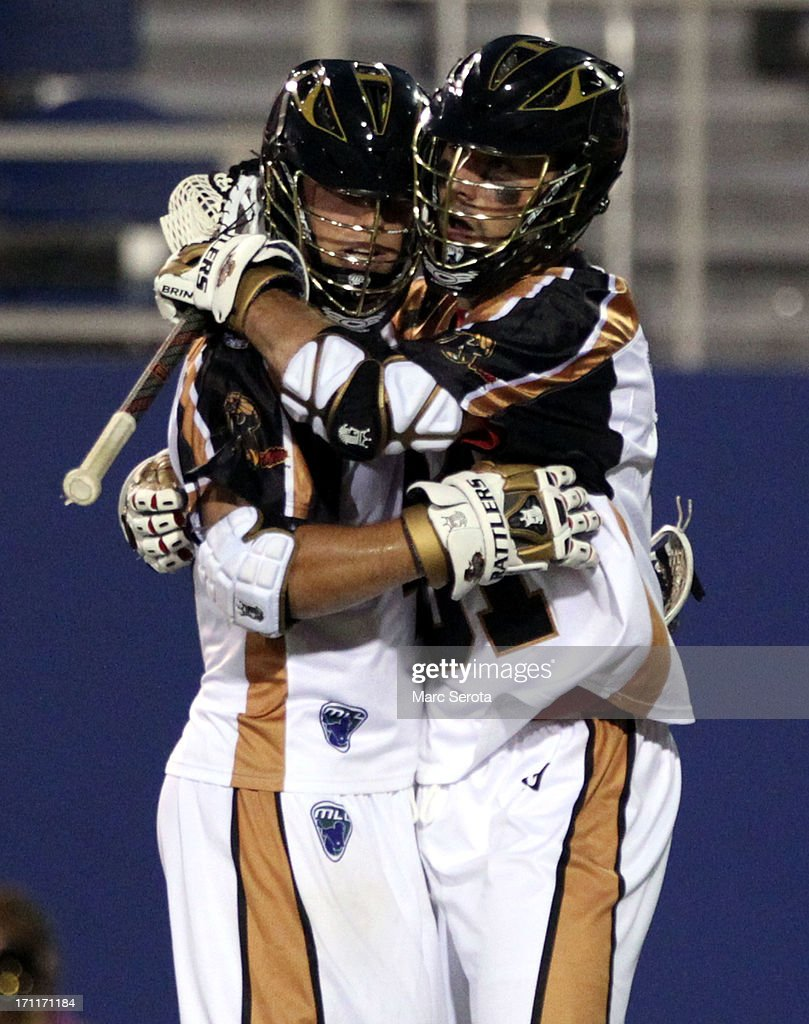 Midfielder Jogn ranagan #31 of the Rochester Rattlers celebrates a goal with teammate Dave Lawson #44 against the Hamilton Nationals during the fourth quarter against the Rochester Rattlers at FAU Stadium on June 22, 2013 in Boca Raton, Florida. The Nationals defeated the Rattlers 17-11.