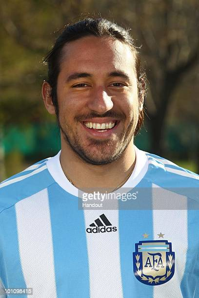 Midfielder Jonas Gutierrez of Argentina's National team for the 2010 FIFA World Cup South Africa poses during a photo session on May 26 2010 in...