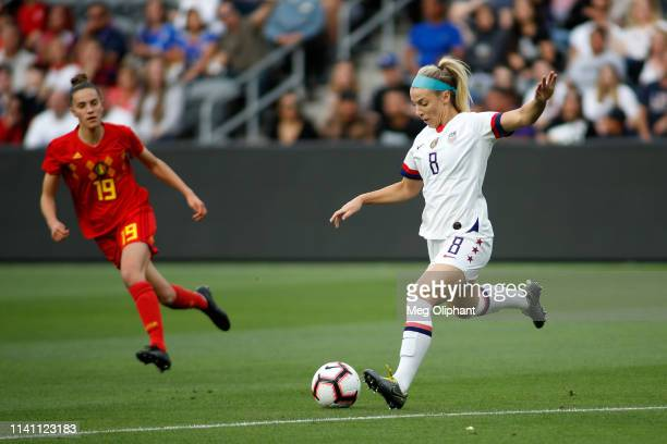 Midfielder Julie Ertz of the United States Women's National Team handles the ball in the game against Belgium at Banc of California Stadium on April...