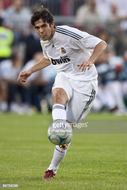 Midfielder Kaka of Real Madrid controls the play against the Toronto FC during the friendly match at BMO Field on August 7 2009 in Toronto Canada...