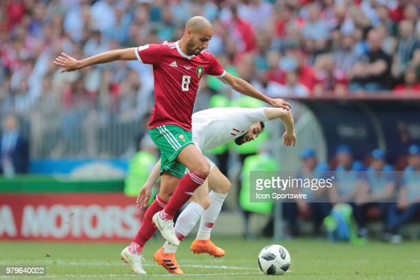 midfielder Karim El Ahmadi of Morocco and midfielder Bernardo Silva of Portugal during a Group B 2018 FIFA World Cup soccer match between Portugal...