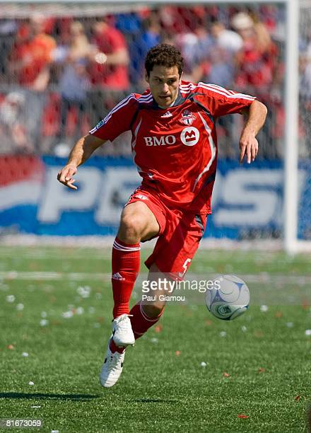 Midfielder Kevin Harmse of the Toronto FC controls the ball during the game against the Kansas City Wizards on June 21 2008 at BMO Field in Toronto...
