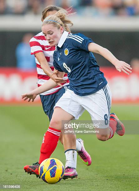 Midfielder Kim Little of Scotland dribbles the ball during the game against the United States at EverBank Field on February 9 2013 in Jacksonville...