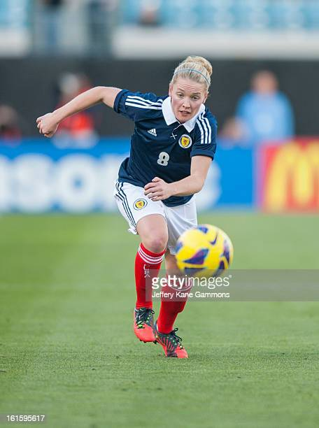 Midfielder Kim Little of Scotland runs down a loose ball during the game against the United States at EverBank Field on February 9 2013 in...