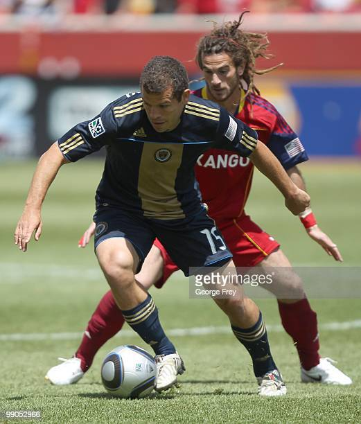 Midfielder Kyle Beckerman of Real Salt Lake fights for the ball against Alejandro Moreno of the Philadelphia Union during an MLS soccer game on May 8...