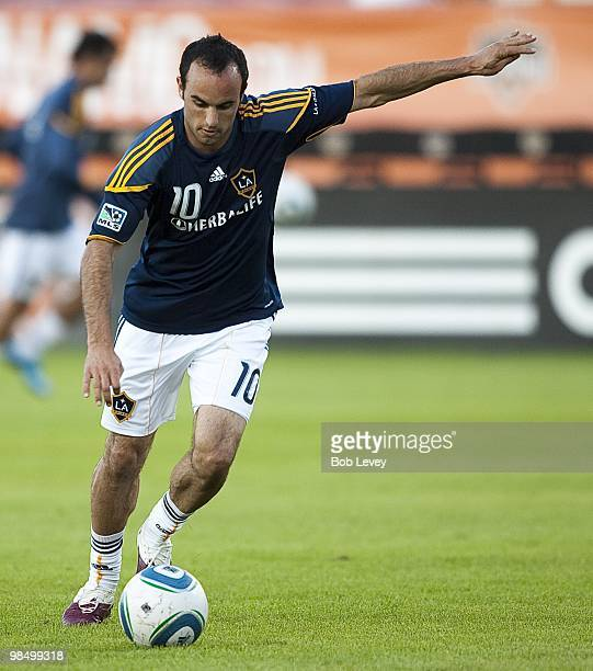 Midfielder Landon Donovan of the Los Angeles Galaxy warms up at Robertson Stadium bedfore playing the Houston Dynamo on April 10 2010 in Houston Texas