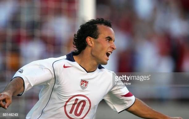 Midfielder Landon Donovan of the U.S. Men's National Team celebrates during the CONCACAF World Cup qualifying match against Costa Rica at Rice-Eccles...