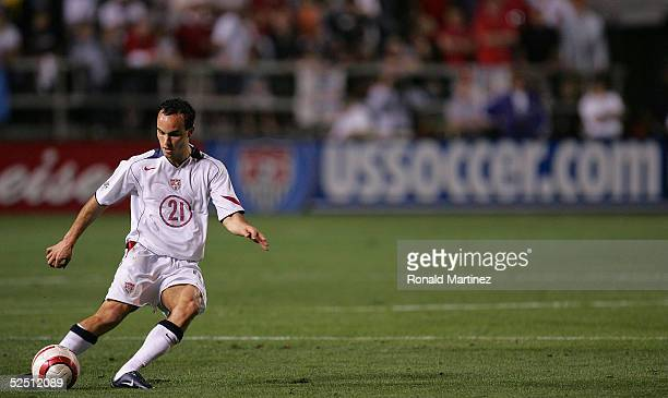 Midfielder Landon Donovan of USA controls the ball against Guatemala during a 2006 FIFA World Cup qualifying match March 30 2005 at Legion Field in...