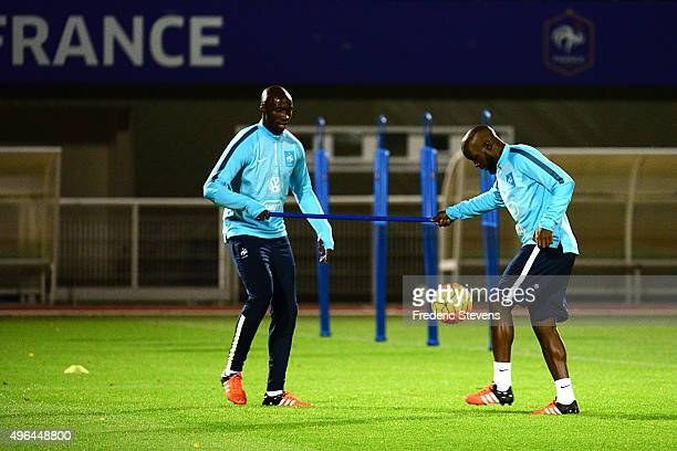 Midfielder Lassana Diara and defender Eliaquim Mangala of France during a training session five days ahead of the friendly match against Germany on...