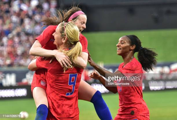 USA midfielder Lindsey Horan hugs USA midfielder Rose Lavelle after she scored during a soccer game between the US Women's National Team and the New...