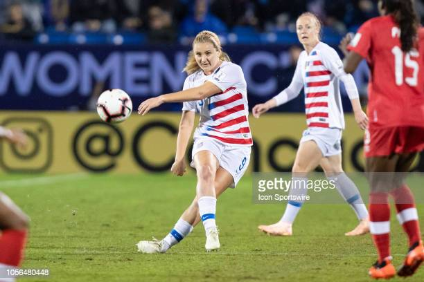 USA midfielder Lindsey Horan passes the ball up field during the CONCACAF Women's Championship gold medal game between the USA and Canada on October...