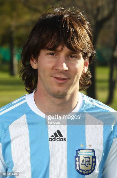 Midfielder Lionel Messi of Argentina's National team for the 2010 FIFA World Cup South Africa poses during a photo session on May 26 2010 in Buenos...