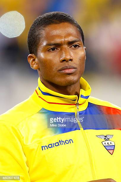 midfielder Luis Antonio Valencia of Ecuador looks on against Argentina during a friendly match at MetLife Stadium on November 15 2013 in East...