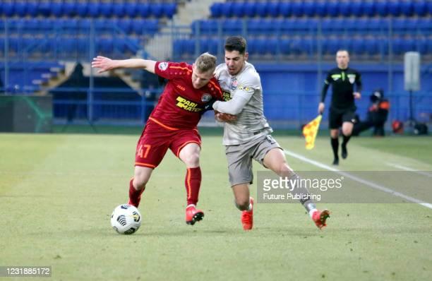 Midfielder Manor Solomon of FC Shakhtar Donetsk is seen in action with midfielder Maksym Hryso of PFC Lviv during the 2020/2021 Ukrainian Premier...