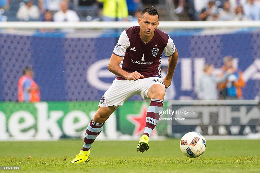 Midfielder Marco Pappa #10 of Colorado Rapids controls the ball during the match vs New York City FC at Yankee Stadium on July 30, 2016 in New York City. New York City FC defeats Colorado Rapids 5-1.