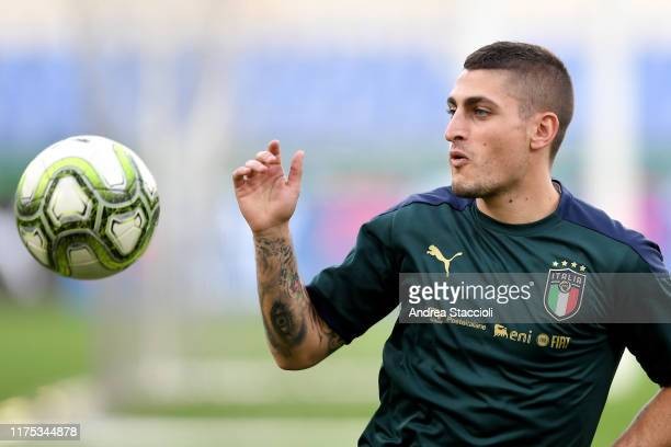 Midfielder Marco Verratti during the training of the italian team the day before the Euro2020 Qualifying match between Italy and Greece.