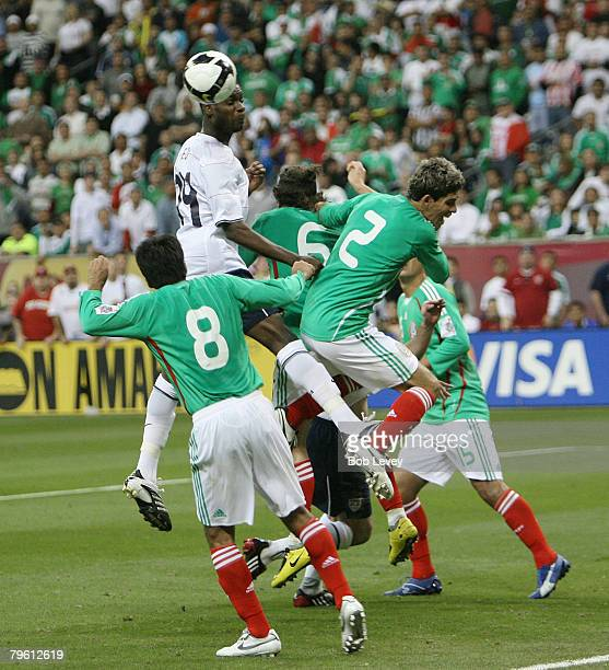 Midfielder Maurice Edu of the USA MNT heads the ball wide of the goal February 6 2008 at Reliant Stadium in Houston Texas USA and Mexico played to a...