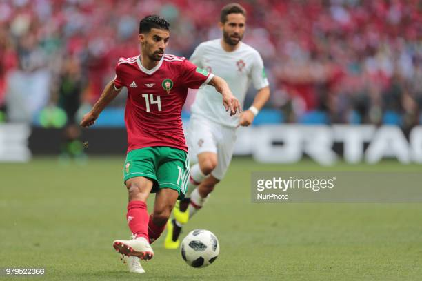 midfielder Mbark Boussoufa of Morocco National team during the group B match between Portugal and Morocco at the FIFA World Cup 2018 at Luzhniki...