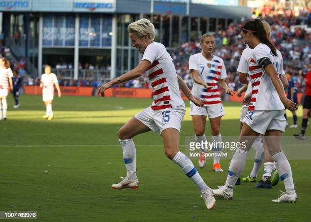 USA midfielder Megan Rapinoe celebrates her goal with a funky dance in the second half of a women's soccer match between Japan and USA in the 2018...