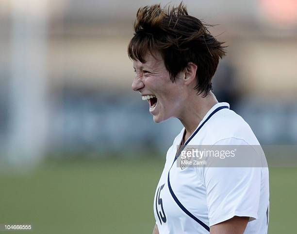 Midfielder Megan Rapinoe of the US Women's National Soccer Team celebrates her first half goal during the game against the People's Republic of China...