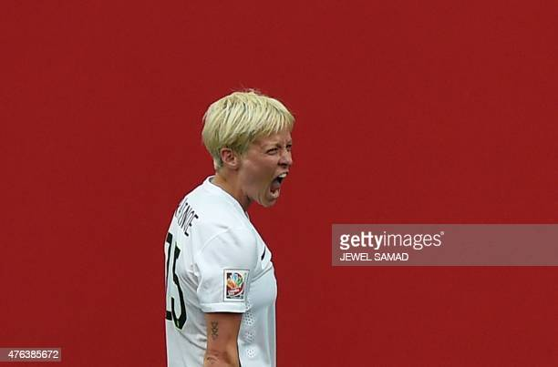 Midfielder Megan Rapinoe of the USA celebrates scoring a goal during the Group D match of the 2015 FIFA Women's World Cup between the USA and...