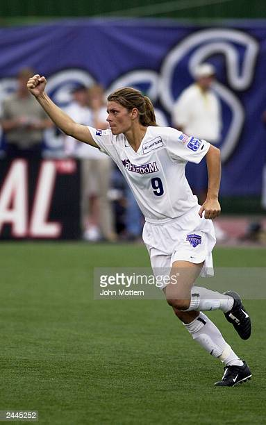 Midfielder Mia Hamm of the Washington Freedom celebrates against the Boston Breakers during the WUSA Semifinals at Nickerson Field on August 16 2003...