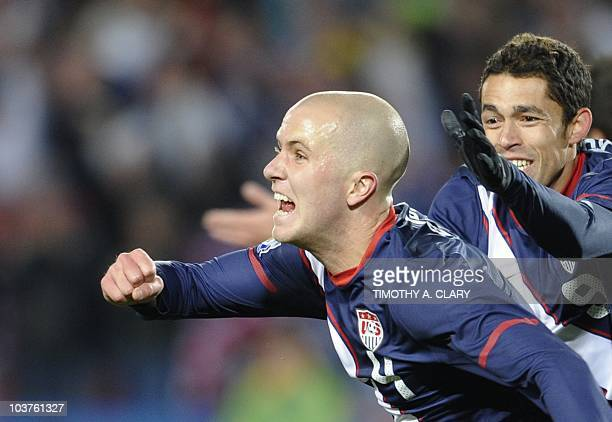 US midfielder Michael Bradley celebrates with US midfielder Herculez Gomez after scoring during the Group C first round 2010 World Cup football match...