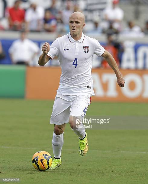 Midfielder Michael Bradley of the United States dribbles during the international friendly match against the Nigeria at EverBank Field on June 7 2014...