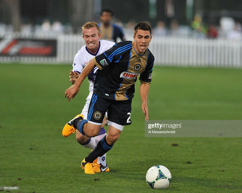 Midfielder Michael Farfan #21 of the Philadelphia Union runs upfield against Orlando City February 9, 2013 in the first round of the Disney Pro Soccer Classic in Orlando, Florida.