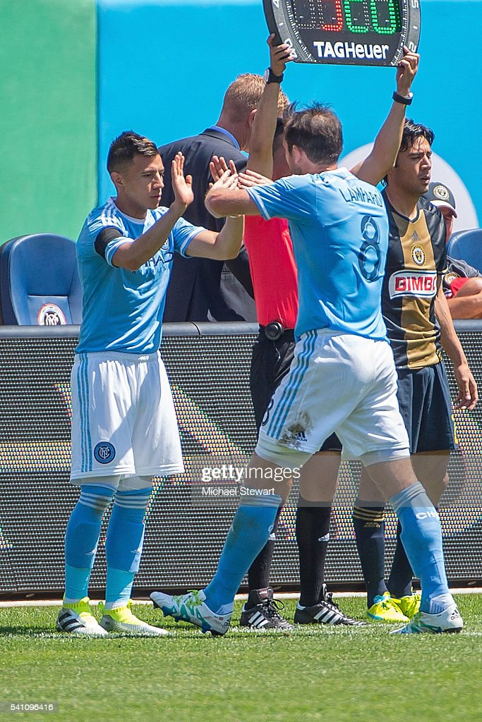 Midfielder Mikey Lopez #5 of New York City FC enters the game for Frank Lampard #8 of New York City FC during the match vs Philadelphia Union at Yankee Stadium on June 18, 2016 in New York City. New York City FC defeats Philadelphia Union 3-2.