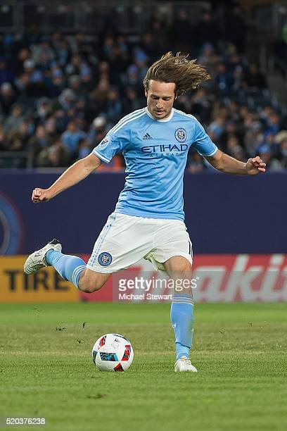 Midfielder Mix Diskerud of New York City FC controls the ball during the match against Chicago Fire at Yankee Stadium on April 10 2016 in the Bronx...