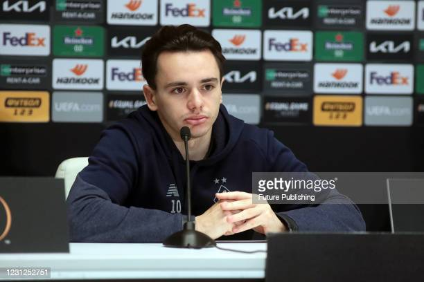 Midfielder Mykola Shaparenko of FC Dynamo Kyiv is pictured during the post-match news conference after a 1-1 draw in the UEFA Europa League Round of...