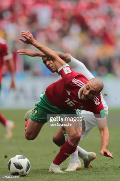 midfielder Noureddine Amrabat of Morocco and midfielder Joao Mario of Portugal during a Group B 2018 FIFA World Cup soccer match between Portugal and...