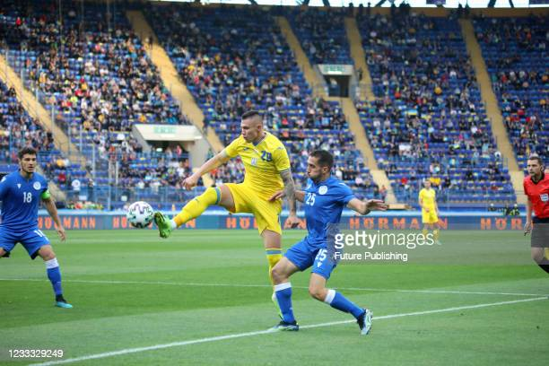 Midfielder of the national football team of Ukraine Oleksandr Zubkov is seen in action the friendly match against the national team of Cyprus which...