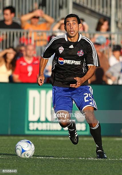 Midfielder Pablo Mastroeni of Colorado Rapids brings the ball up field during the 2008 Pepsi MLS All Star Game between the MLS All Stars and West Ham...