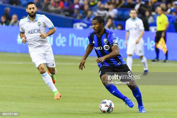 Midfielder Patrice Bernier looking for someone to pass the ball during the Seattle Sounders FC versus the Montreal Impact game on March 11 at...
