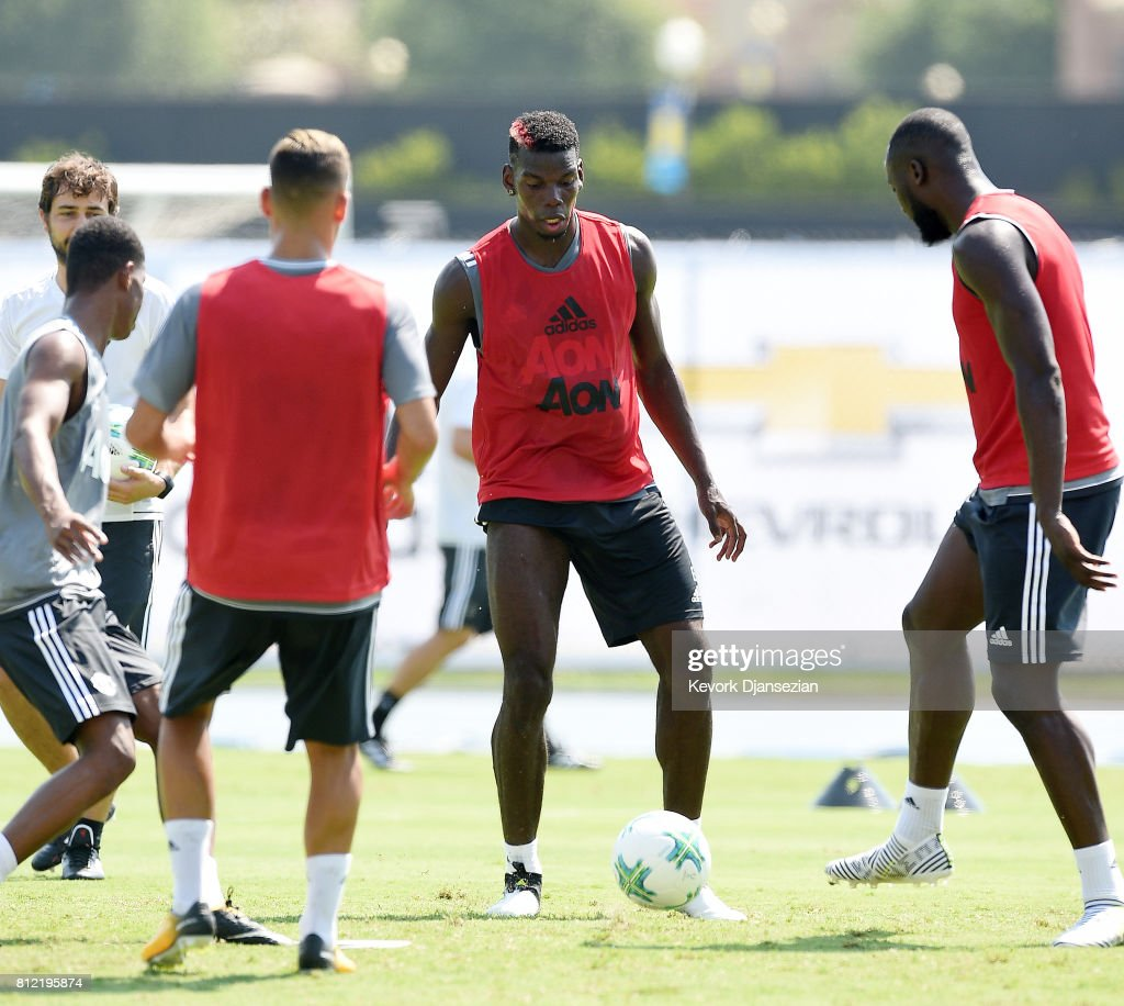 Midfielder Paul Pogba #6 of Manchester United controls the ball during training for Tour 2017 at UCLA's Drake Stadium July 10, 2017, in Los Angeles, California.