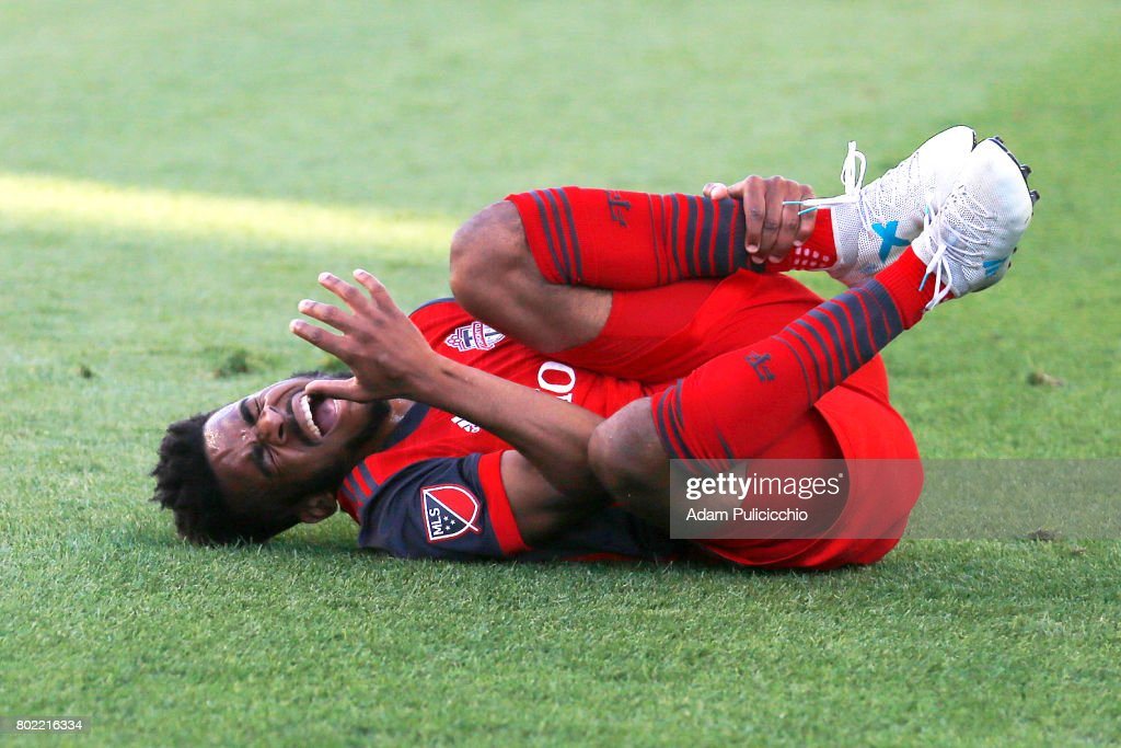 Midfielder Raheem Edwards #44 of Toronto FC falls to the grass and screams in pain after being injured against the Montreal Impact during Leg 2 of the 2017 Canadian Championship on June 27, 2017 at BMO Field in Toronto, Canada.