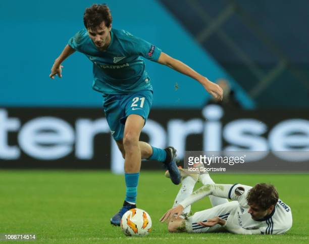 midfielder Robert Skov of FC Kopenhagen in action with midfielder Aleksandr Erokhin of FC Zenit during UEFA Europe League Group Stage Group C match...