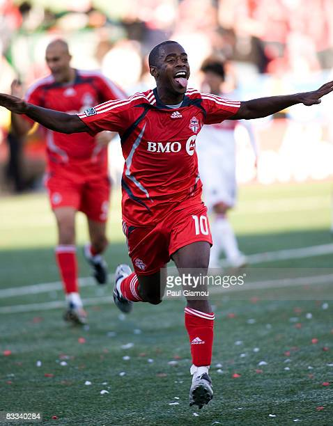 Midfielder Rohan Ricketts of Toronto FC celbrates his goal during the match against the Chicago Fire on October 18 2008 at BMO Field in Toronto...