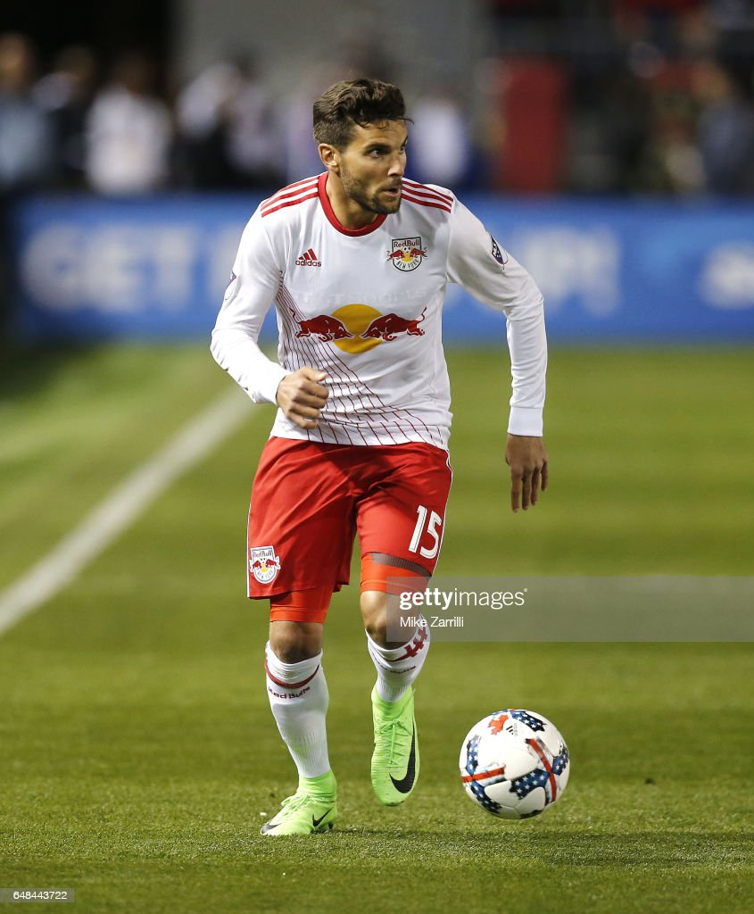 Midfielder Sal Zizzo #15 of the New York Red Bulls dribbles during the game against Atlanta United at Bobby Dodd Stadium on March 5, 2017 in Atlanta, Georgia.
