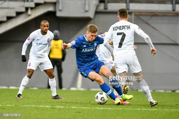 Midfielder Serhiy Sydorchuk of FC Dynamo Kyiv controls the ball during the 2020/2021 Ukrainian Premier League Matchday 18 game against FC Zorya...