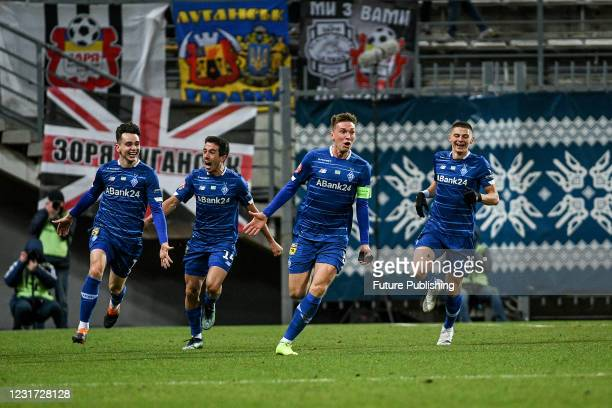Midfielder Serhiy Sydorchuk of FC Dynamo Kyiv reacts to scoring during the 2020/2021 Ukrainian Premier League Matchday 18 game against FC Zorya...