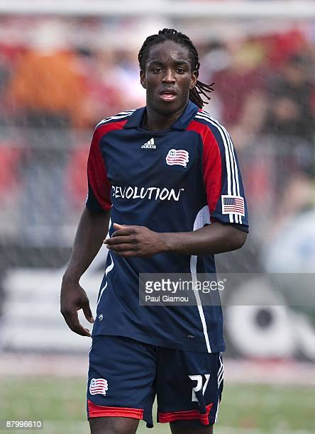 Midfielder Shalrie Joseph of the New England Revolution follows the play during the match against the Toronto FC at BMO Field on May 23, 2009 in...