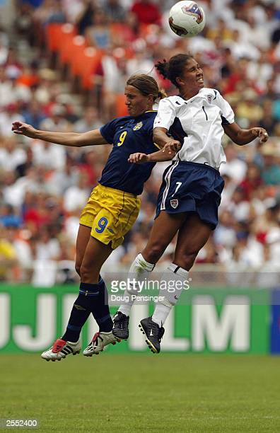 Midfielder Shannon Boxx of the United States and midfielder Malin Andersson of Sweden vie for the ball during the 2003 FIFA Women's World Cup first...