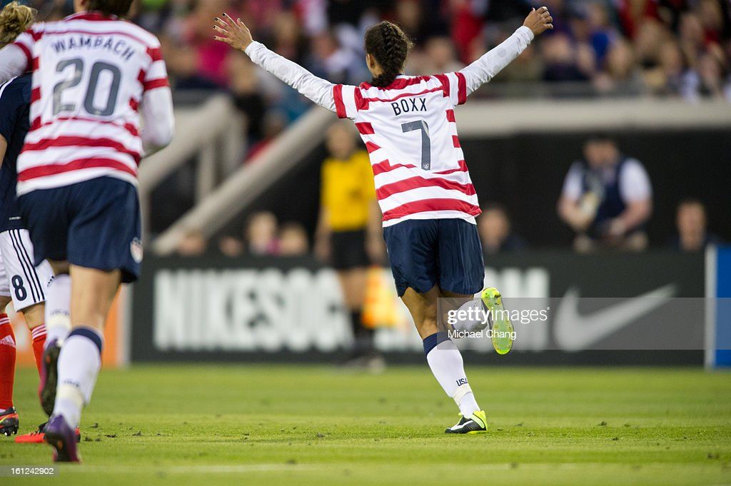 Midfielder Shannon Boxx #7 of the United States celebrates after scoring a goal during the game against Scotland at EverBank Field on February 9, 2013 in Jacksonville, Florida. The United States defeated Scotland 4-1.