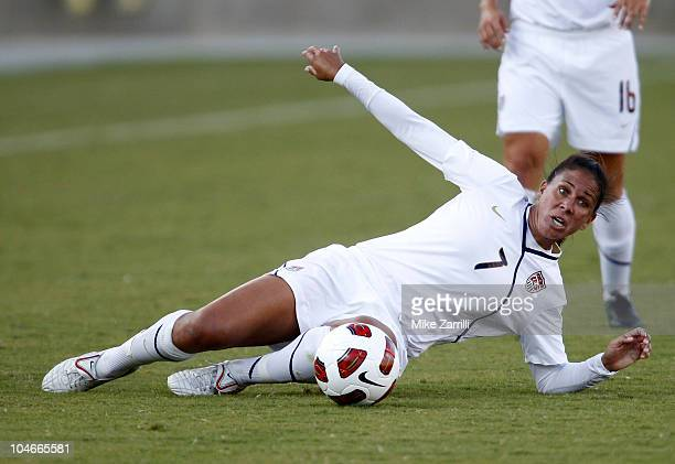 Midfielder Shannon Boxx of the US Women's National Soccer Team slides to control the ball during the game against the People's Republic of China...