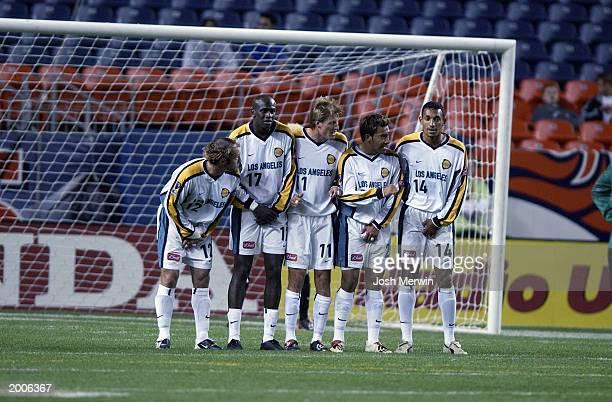 Midfielder Simon Elliot, defender Ezra Hendrickson, midfielder Sasha Victorine, forward Carlos Ruiz, and defender Tyrone Marshall of the Los Angeles...