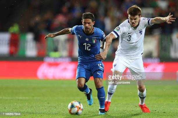 Midfielder Stefano Sensi of Italy National Team and defender Albin Granlund of Finland National Team during the Italy versus Finland UEFA EURO 2020...
