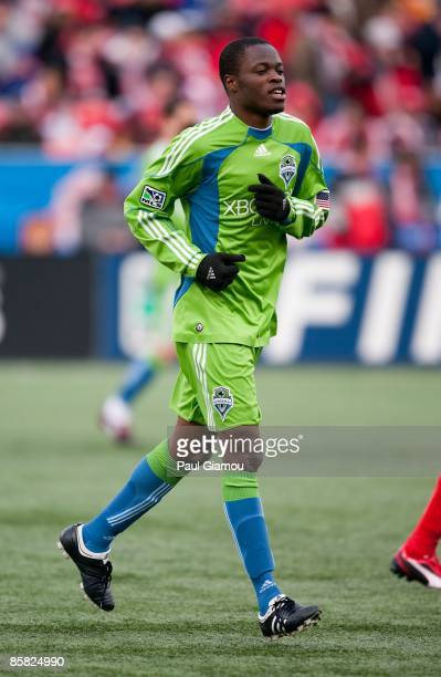 Midfielder Steve Zakuani of the Seattle Sounders FC follows the play during the match against the Toronto FC at BMO Field on April 4 2009 in Toronto...